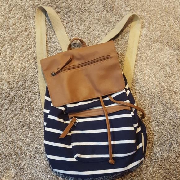 Madden Girl Handbags - Madden girl  navy and white stripped backpack